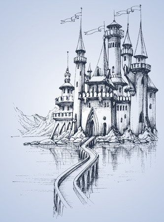 A beautiful palace and a bridge over the river Ilustrace