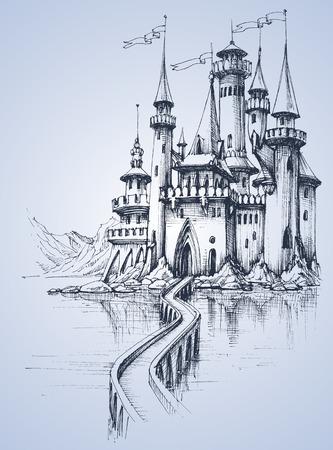 castillo medieval: Un hermoso palacio y un puente sobre el río Vectores