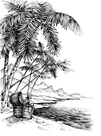 seascape: Treasure island sketch. Beautiful palm trees on sea shore and a treasure chest