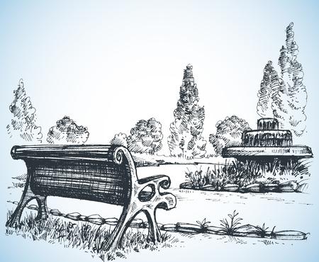 Park schets, een fontein en bank