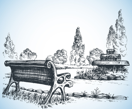 beauty fountain: Park sketch, a fountain and bench