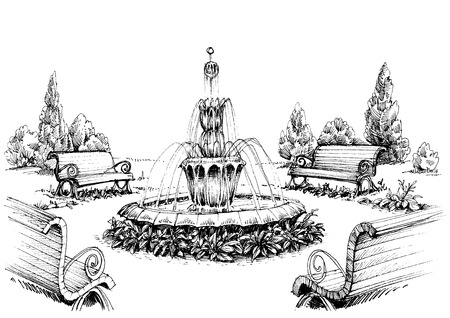 garden landscape: Water fountain in the park Illustration