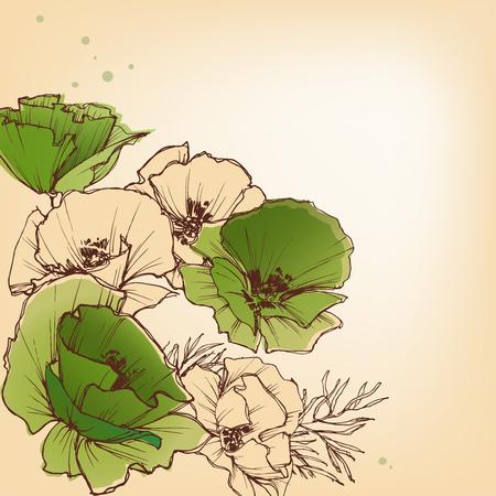 feminine background: Spring floral background in bright colors Illustration