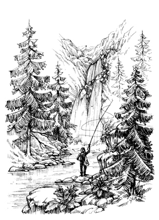 pecheur: pêche Fisherman dans les montagnes rivière