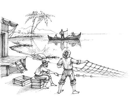 fischerei: Fischer bei der Arbeit Skizze