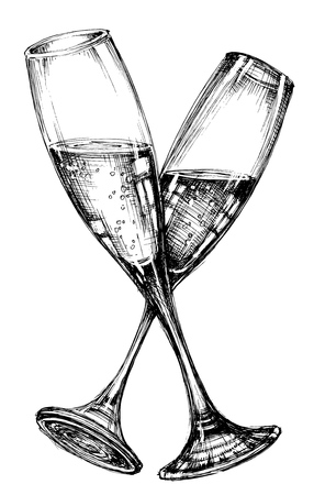 black and white image drawing: Glass of champagne