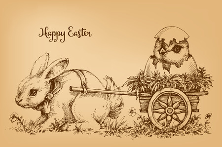 etch: Easter bunny vintage card, etch style scene