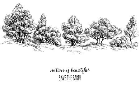 Earth Day carta, alberi schizzo