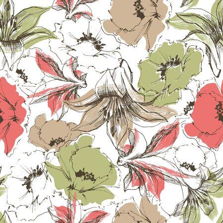 retro flowers: Flowers pattern, retro florals Illustration