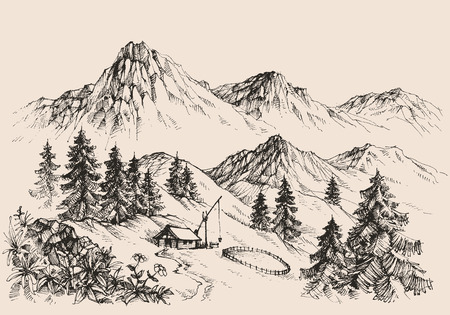 pencil drawing: Mountains landscape and a sheepfold a farm sketch Illustration