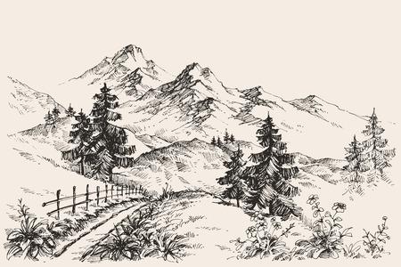 dessin fleur: Un chemin dans l'esquisse des montagnes Illustration