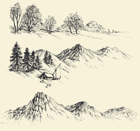 Nature elements set, mountains and forest
