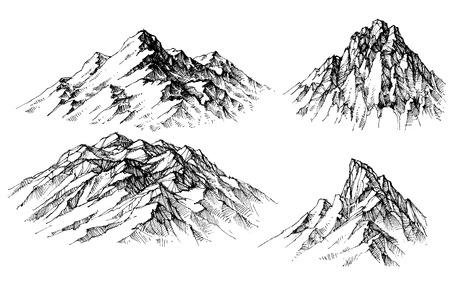 산을 설정합니다. 고립 된 산 봉우리 일러스트