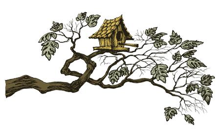 bordure de page: branche d'arbre et une maison d'oiseau mignon, bordure de page ou d'ornement