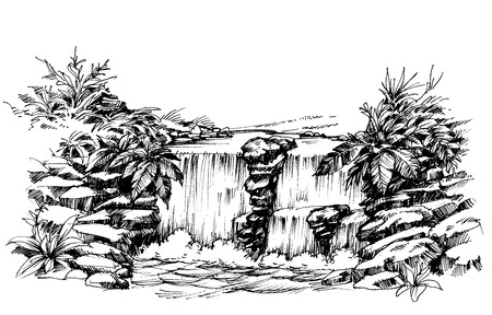 waterfall river: Waterfall drawing, flowing river sketch