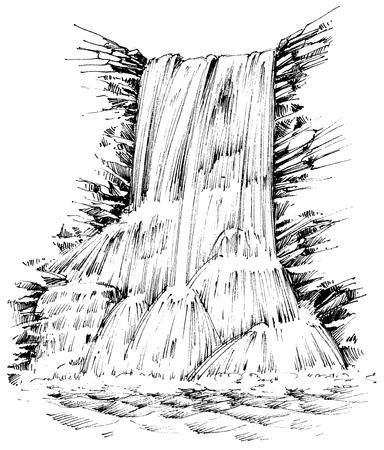 Mountains waterfall graphic illustration Illustration