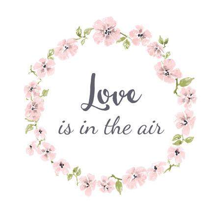 Leuke roze bloemenkrans, lente bloemenframe