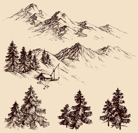 pencil drawings: Nature design elements, mountains and pine trees sketch Illustration
