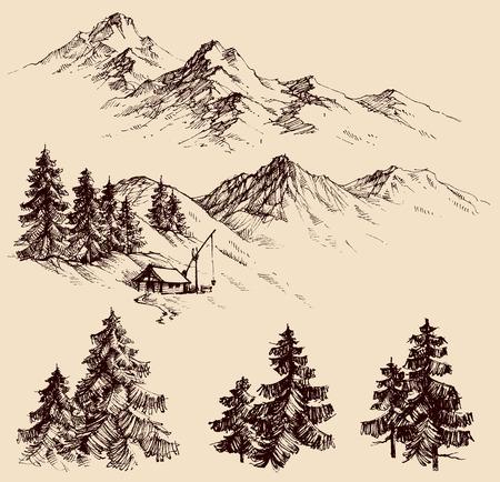 Natuur design elementen, bergen en pijnbomen schets Stock Illustratie