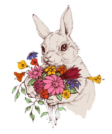cuteness: Easter bunny and a bunch of flowers