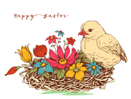 cuteness: Easter greeting card Illustration