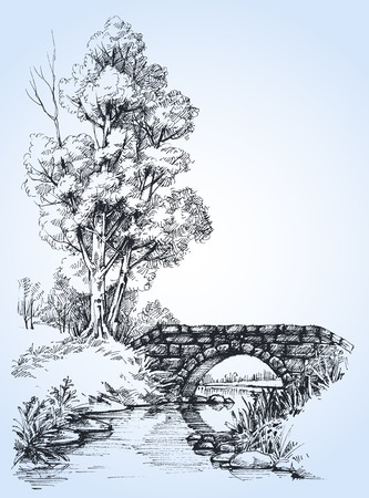 Park sketch, a stone bridge over river in the forest