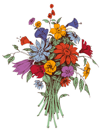 bunch of flowers: Floral bouquet Illustration