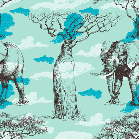 savana: African pattern, baobab tree and elephant summer background