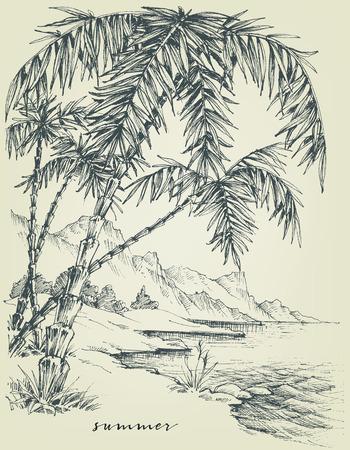 Zomer schets. Palmbomen op het strand