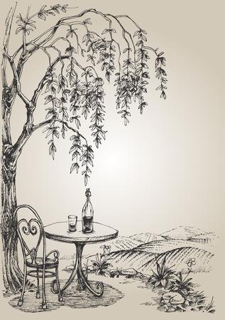 terraza del restaurante Ilustración de vector