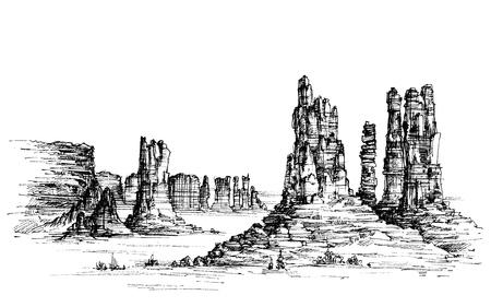 Paisaje salvaje oeste icónica Ilustración de vector