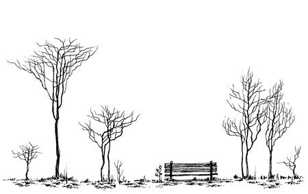 lijntekening: Gestileerde park decor, bank en bomen tekenen