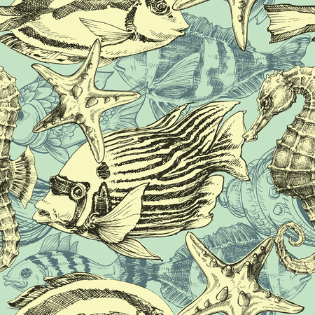 exotic fish: Sea pattern, marine life exotic fish background