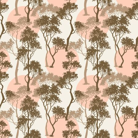 background pattern: Trees pattern, forest background Illustration