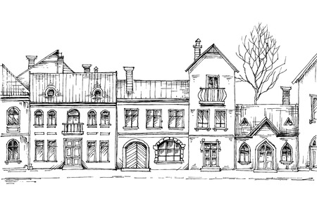 city view: City street, linear buildings, front view Illustration