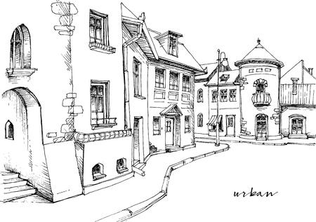 Stadsstraat schets Stock Illustratie