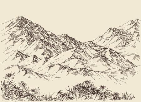 Mountain peaks, altitude landscape