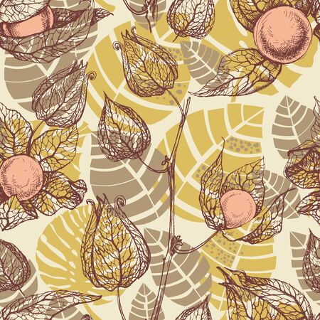 mustard: Fruits pattern, physalis background Illustration