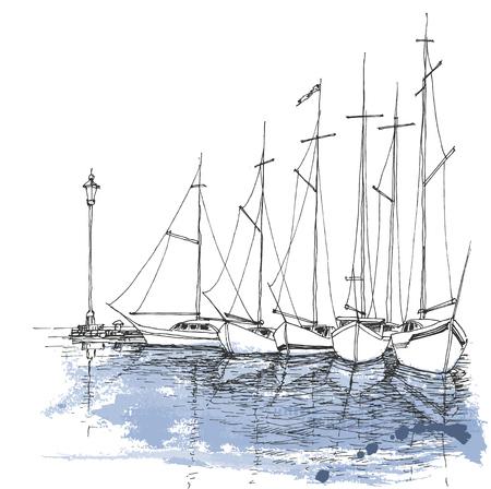 水、港スケッチ、交通機関の背景のボート