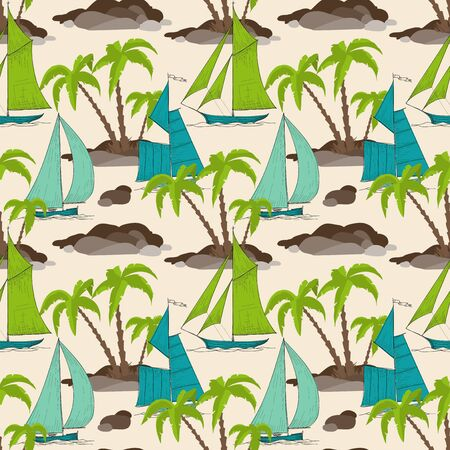 wanderer: Palm trees island and boats pattern, summer background Illustration