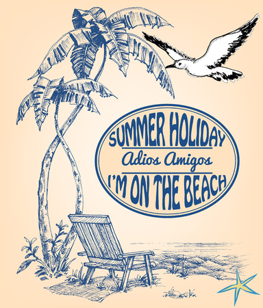 palmtrees: Vacation announcement, summer holiday background