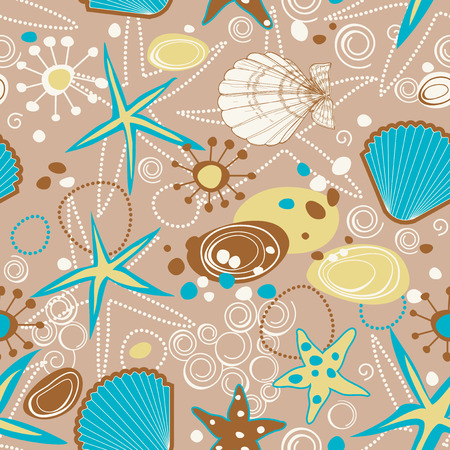 cockle: Beach pattern, summer background Illustration
