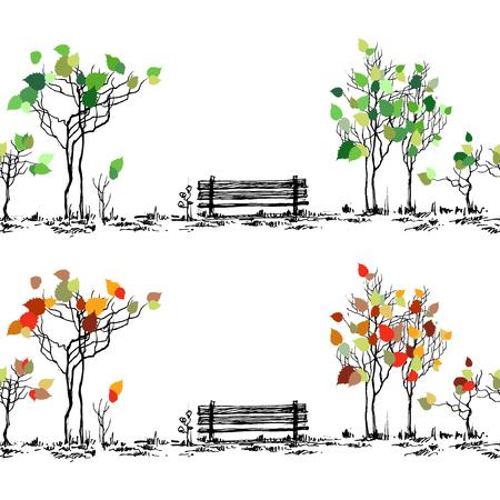 Szkic Parku. Ława i drzewa w różnych porach roku