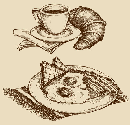 egg cups: Breakfast food, coffee and croissant, ham and eggs. Hand drawn illustration