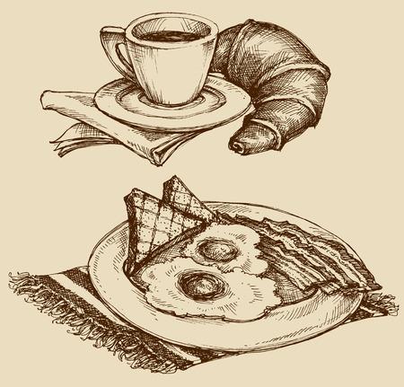 huevo caricatura: La comida del desayuno, caf� y croissant, jam�n y huevos. dibujado a mano ilustraci�n