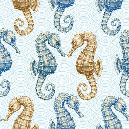 animal print: Caballo de mar vector de patrón transparente. imprimir la vida marina Vectores