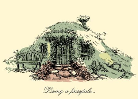 closed door: A small mysterious house from fairy tales. Dwarf home Illustration