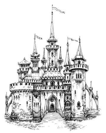 castello medievale: castello di vettore vista frontale. disegno a mano a matita, pronti a colorare