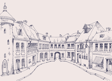 residential neighborhood: City street, retro style buildings sketch, urban background