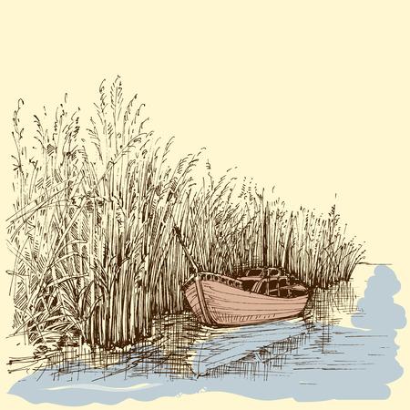 pencil drawing: Boat on lake vector Illustration